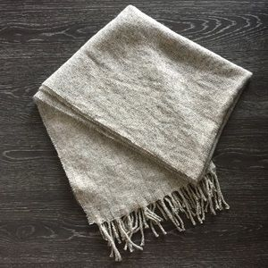 Knitted Cream Scarf with Unfinished Edges